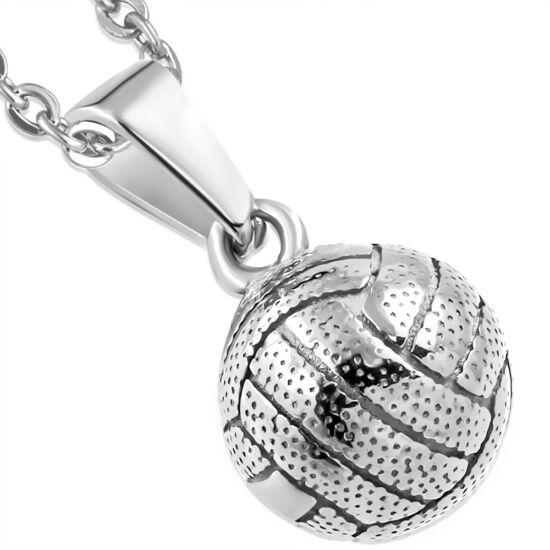 Ezüst színű, röplabda formájú nemesacél medál ékszer