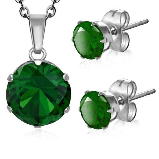 Ezüst színű, smaragd cirkónia kristállyal díszített kör alakú medál és fülbevaló