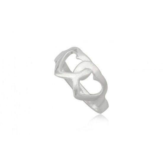 Ezüst szív alakú gyűrű-8