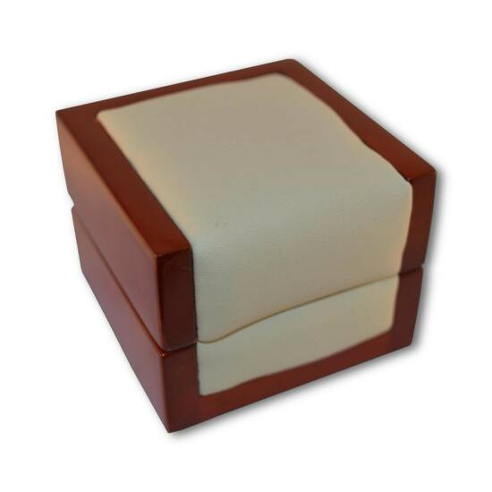 Fa-műbőr gyűrű doboz