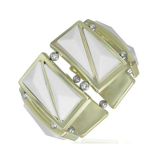 Fehér, háromszög alakú köves, rugalmas divatos karkötő ékszer