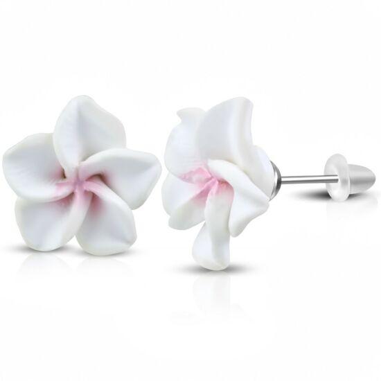 Fehér pluméria virág fülbevaló
