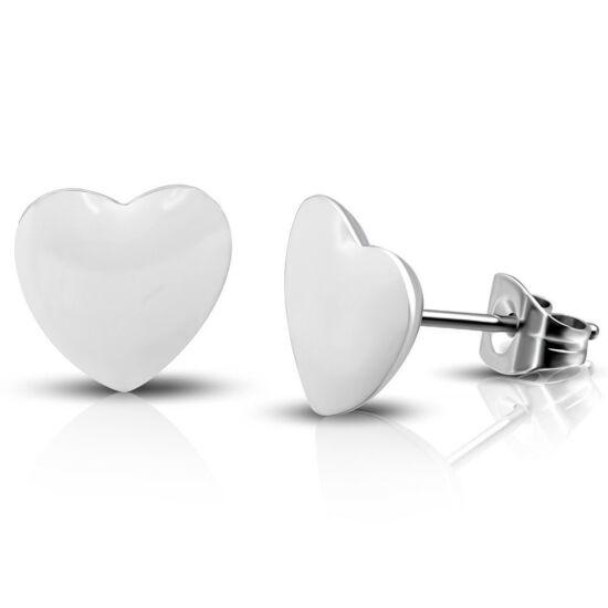 Fehér színű, szív alakú nemesacél fülbevaló ékszer