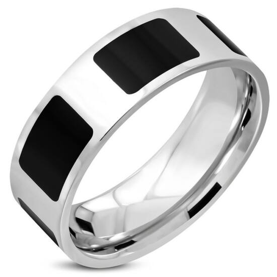 Fekete ezüst színű, belül lekerekített nemesacél gyűrű ékszer