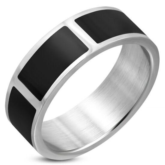 Fekete ezüst színű nemesacél gyűrű ékszer