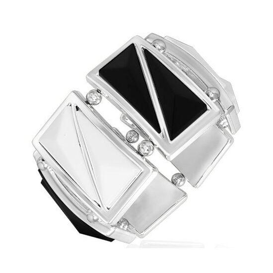 Fekete-fehér, háromszög alakú köves, rugalmas divatos karkötő ékszer