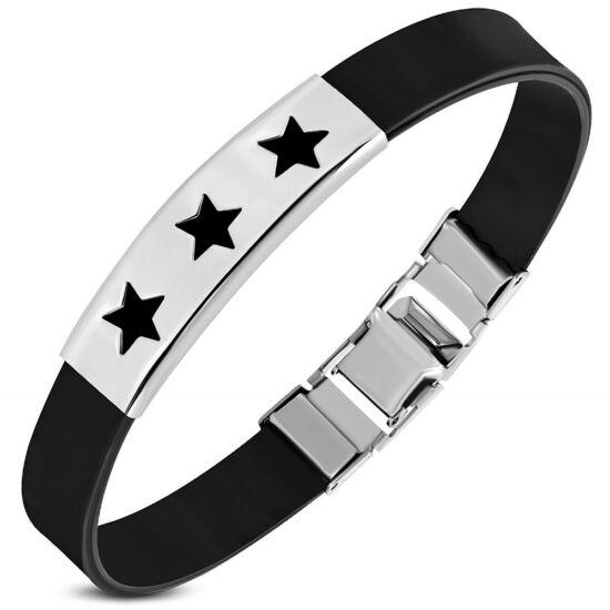 Fekete kaucsuk karkötő csillag dísszel