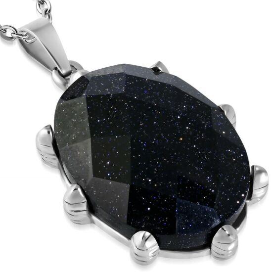 Fekete kvarckristályos, ovális alakú nemesacél medál ékszer