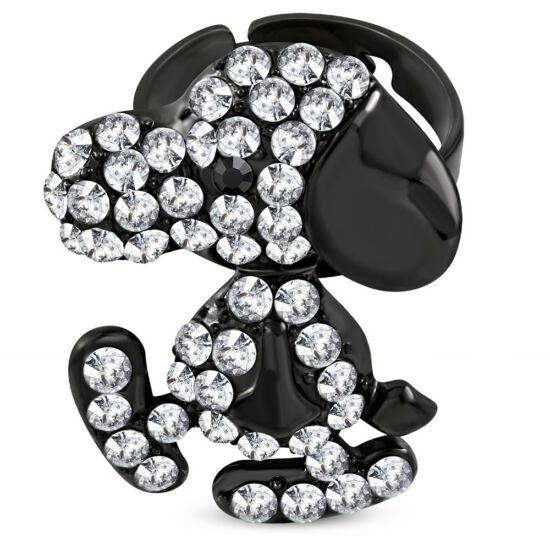 Fekete színű, állítható gyűrű ékszer cirkónia kristállyal