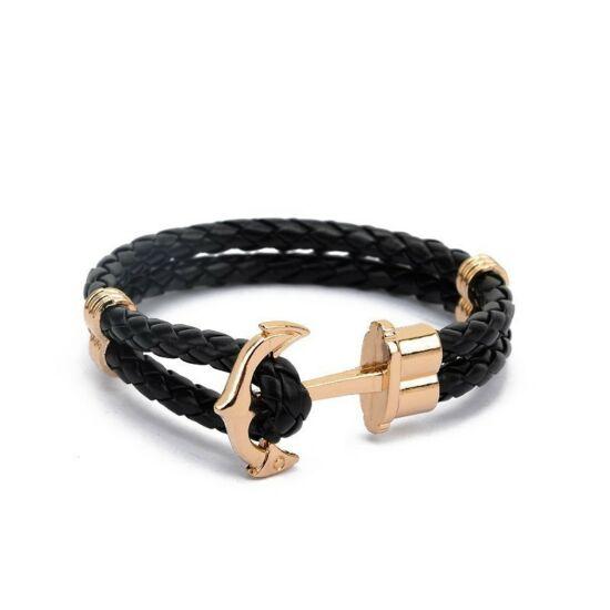 Fekete színű horgonyos karkötő