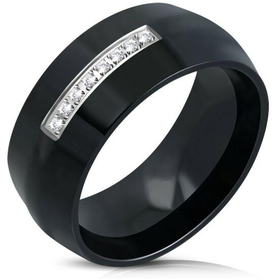 Fekete színű nemesacél gyűrű cirkónia kristályokkal-5