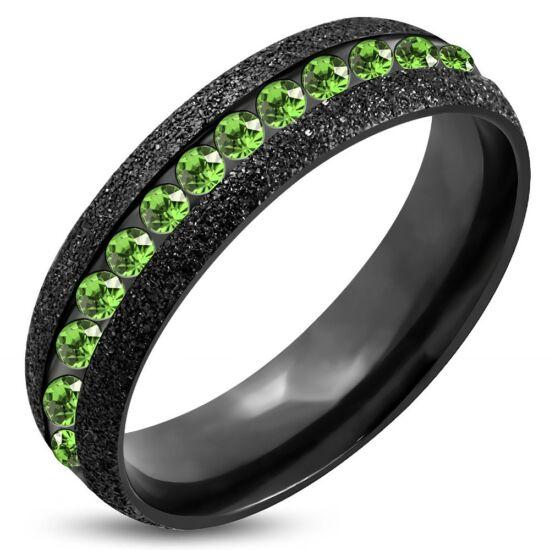 Fekete színű nemesacél gyűrű ékszer, zöld színű cirkónia kristállyal