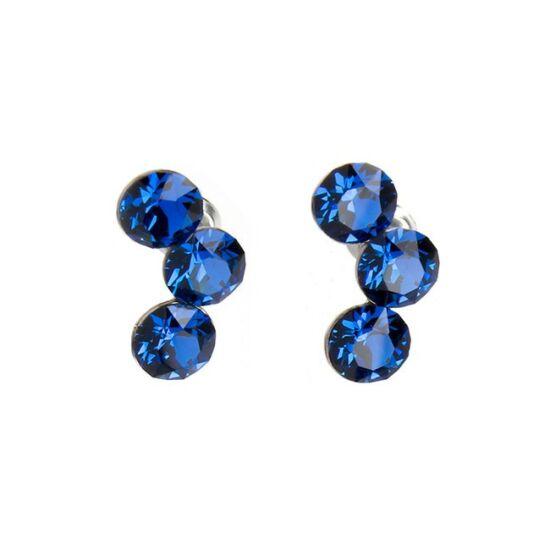 Félhold Swarovski® kristályos nemesacél fülbevaló - Bermuda Blue