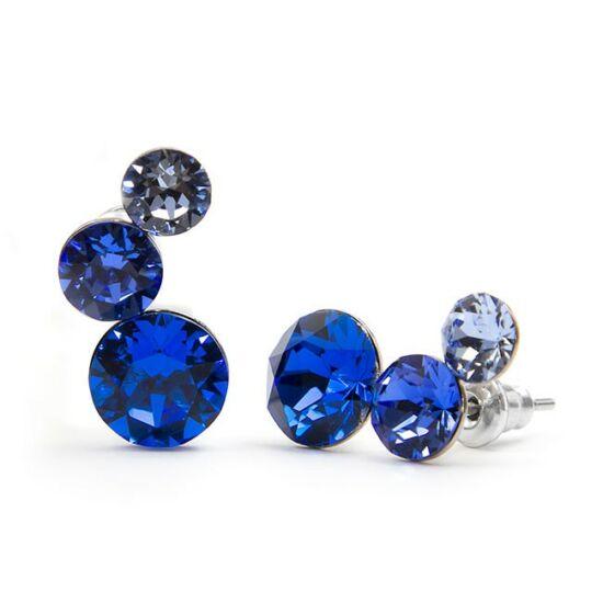 Félhold Swarovski® kristályos nemesacél fülbevaló - Kék