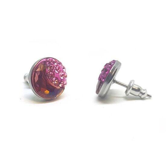 Félhold Swarovski® kristályos nemesacél fülbevaló - Light Rose