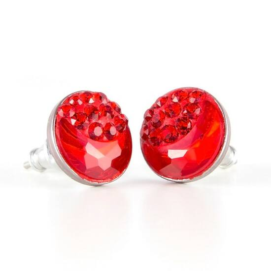 Félhold Swarovski® kristályos nemesacél fülbevaló - Light Siam