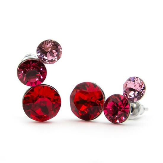Félhold Swarovski® kristályos nemesacél fülbevaló - Piros