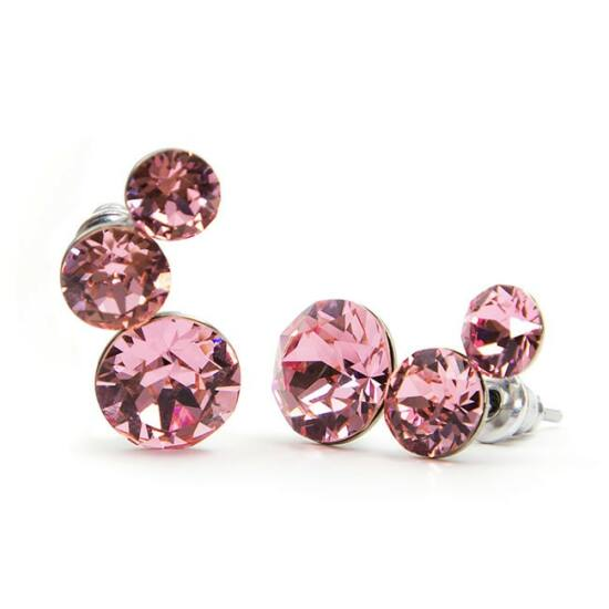 Félhold Swarovski® kristályos nemesacél fülbevaló - Rózsaszín