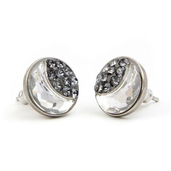 Félhold Swarovski® kristályos nemesacél fülbevaló - Silver Night