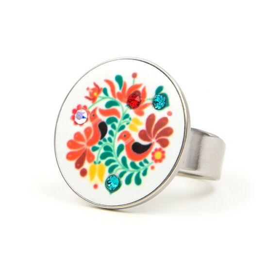 Folk Motif Swarovski® kristályos nemesacél gyűrű