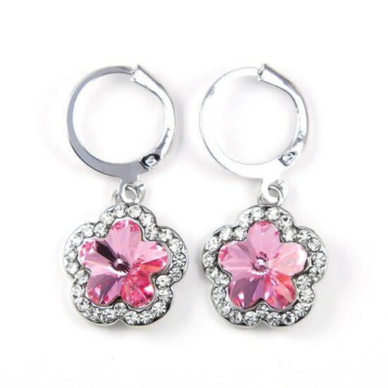 Gardenia Swarovski kristályos fülbevaló - Pink