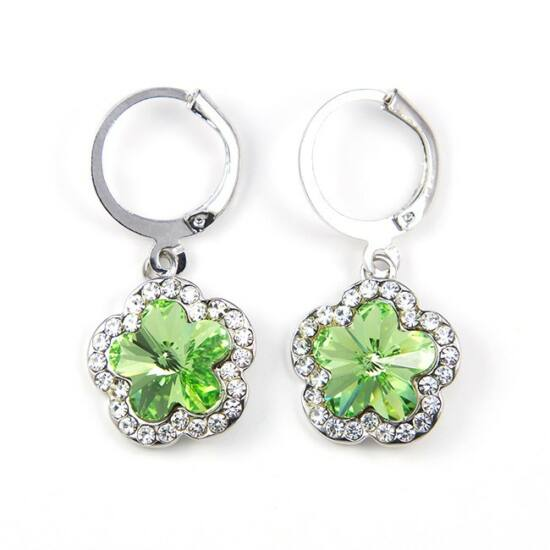 Gardenia Swarovski kristályos fülbevaló - Zöld