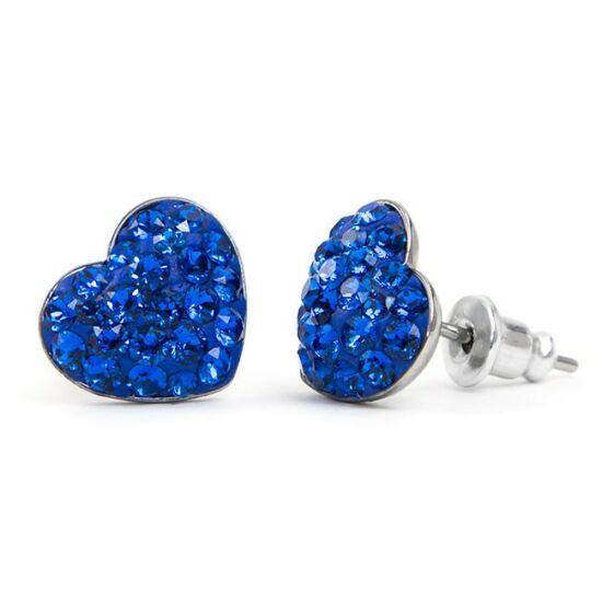 Gömbölyű szíves Swarovski® kristályos nemesacél fülbevaló - Capri Blue