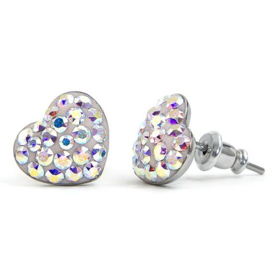 Gömbölyű szíves Swarovski® kristályos nemesacél fülbevaló - Crystal AB
