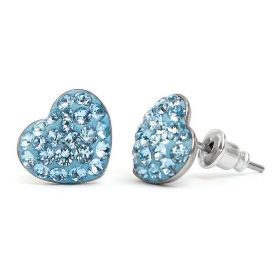 Gömbölyű szíves Swarovski® kristályos nemesacél fülbevaló - Light Sapphire