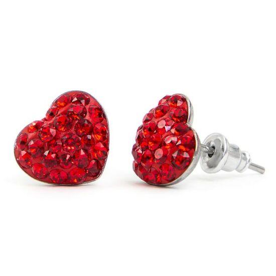 Gömbölyű szíves Swarovski® kristályos nemesacél fülbevaló - Light Siam