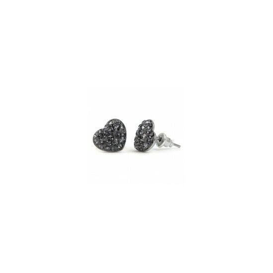 Gömbölyű szíves Swarovski® kristályos nemesacél fülbevaló - Silver Night