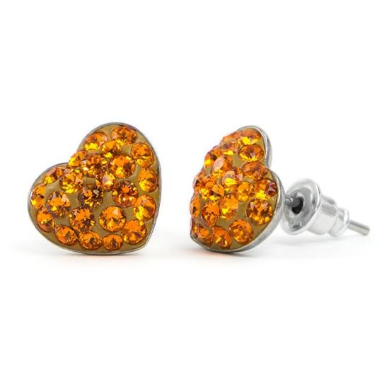 Gömbölyű szíves Swarovski® kristályos nemesacél fülbevaló - Tangerine