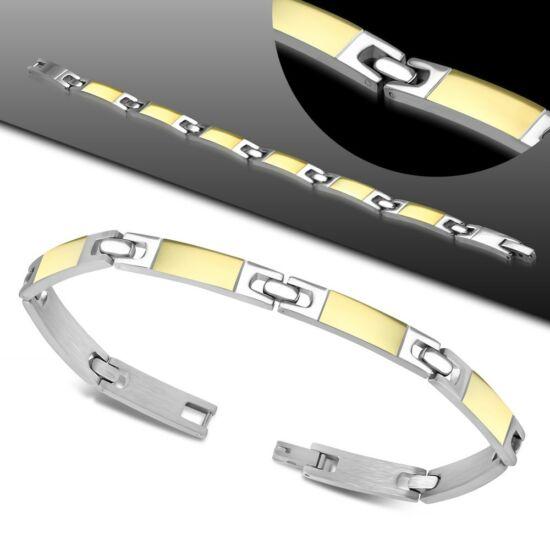 Gravírozható, ezüst és arany színű nemesacél karlánc ékszer
