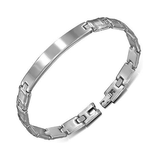 Gravírozható ezüst színű nemesacél karlánc ékszer