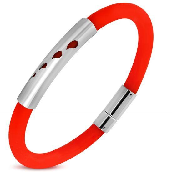 Gravírozható kaucsuk karkötő ékszer piros