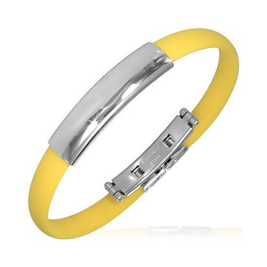 Gravírozható kaucsuk karkötő ékszer sárga színben