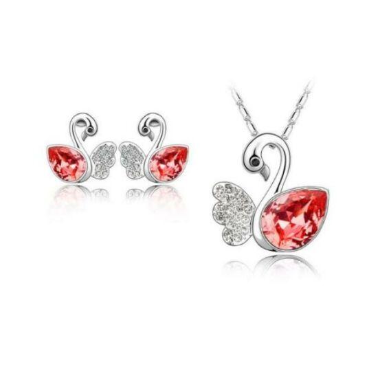 Hattyú formájú ékszer szett piros kristállyal - nyaklánc + medál + fülbevaló