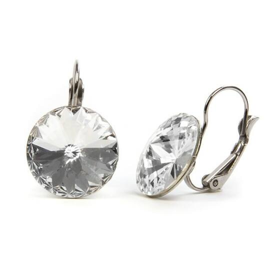 Hold Swarovski kristályos nemesacél fülbevaló - Crystal
