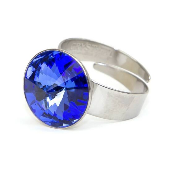 Hold SWAROVSKI® kristályos nemesacél gyűrű - Bermuda Blue