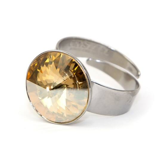 Hold Swarovski® kristályos nemesacél gyűrű - Golden Shadow