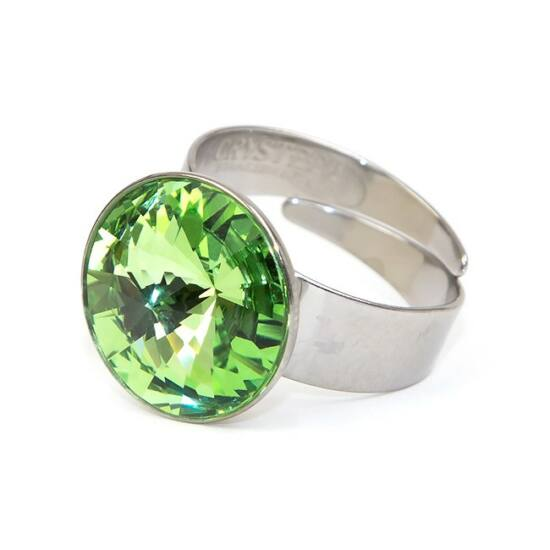 Hold SWAROVSKI® kristályos nemesacél gyűrű - Peridot