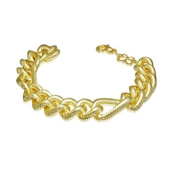 Hornyos, figaró stílusú arany színű nemesacél karkötő