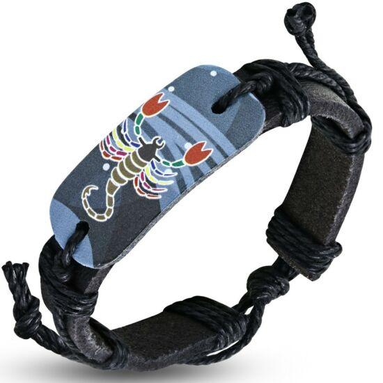 Horoszkópos bizsu bőr karkötő - Skorpió