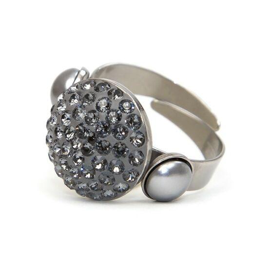 Iril Swarovski® kristályos nemesacél gyűrű - Silver Night