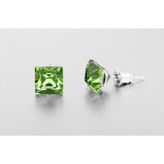 Jazzy Swarovski kristályos fülbevaló - Négyzet Világos Zöld