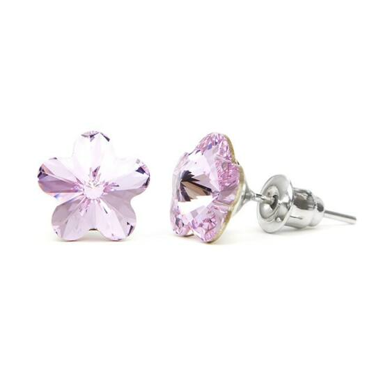 Jazzy Swarovski kristályos fülbevaló - Virág Világos Lila