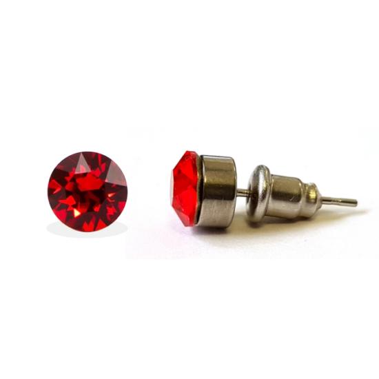 Jazzy SWAROVSKI® kristályos fülbevaló - Kerek foglalatos Piros