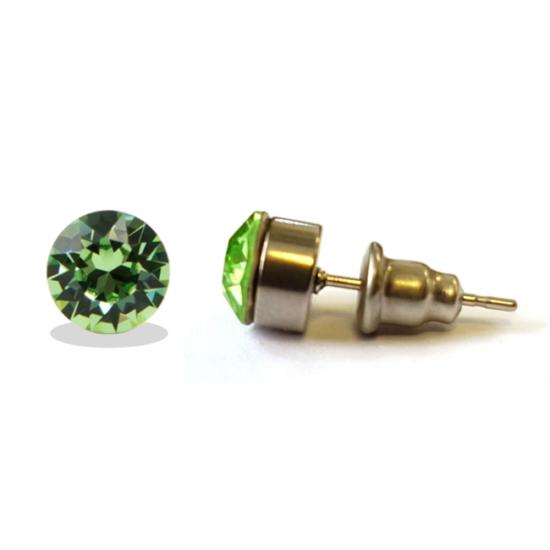 Jazzy SWAROVSKI® kristályos fülbevaló - Kerek foglalatos Zöld
