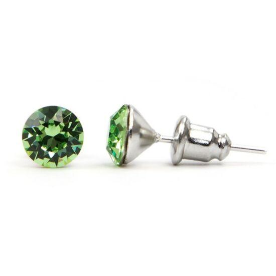 Jazzy SWAROVSKI® kristályos fülbevaló - Kerek Peridot