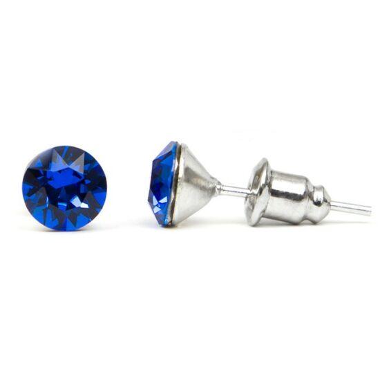 Jazzy SWAROVSKI® kristályos fülbevaló - Kerek Sötét Kék
